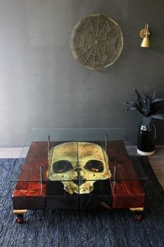 Skull Reclaimed Coffee Table With Glass Top - Vintage Furniture - Furniture Skull Furniture, Gothic Furniture, Unique Furniture, Vintage Furniture, Goth Home, Skull Decor, Skull Art, Glass Top Coffee Table, Gothic Home Decor