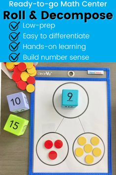 Help students build confidence manipulating numbers with this Roll & Decompose activity! Just roll a dice and place it in the top circle, then use 2-color counters to represent different ways the number can be broken into two groups! Differentiate this activity by using our Multiple Representation Dice or asking students to generate number sentences based on groups! Activity Centers, Literacy Centers, Math Classroom, Classroom Organization, Math Games, Math Activities, Math Rotations, Go Math, Guided Math