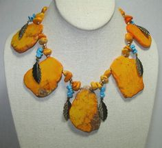 Big Chunky Orange Howlite Slab Turquoise Nugget Brass Leaf Necklace!!