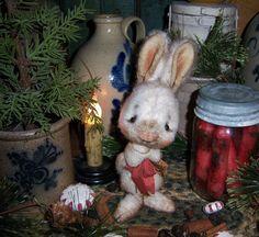 "Primitive Frosty Christmas Rabbit 5"" Doll Patti's Ratties Snowman Bear Artist"