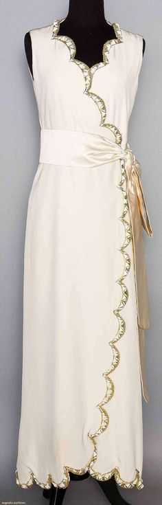 Christian Dior White Evening Gown, C. 1968.  For upcoming vintage and antique fashion auction.