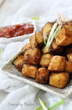 Crispy Salt and Pepper Tofu (replace cornflour with rice flour to make it gluten free)
