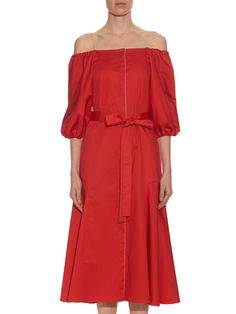 Liv off-the-shoulder cotton-blend poplin dress | Anna October | MATCHESFASHION.COM