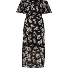 River Island Black floral print bardot layer midi dress (1,145 MXN) ❤ liked on Polyvore featuring dresses, flower pattern dress, floral midi dress, flower print dress, midi dresses and crepe dress