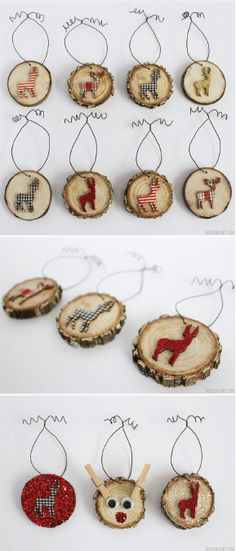 Deer Wood Slice Ornaments - Rustic Christmas Wood slice ornaments add the perfect touch to your Rustic Christmas theme, especially if you decorate them with deer and Rudolph The Red Nosed Reindeer! Cheap Christmas Gifts, Noel Christmas, Diy Christmas Ornaments, Homemade Christmas, Rustic Christmas, Christmas Tree Decorations, Ornaments Ideas, Wooden Ornaments, Cheap Ornaments