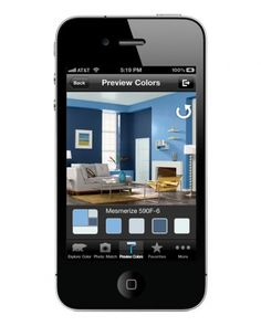 App that lets you take a photo of your room and then try paint colors on them to see what you like best .... Free APP by ColorSmart by BEHR Mobile.