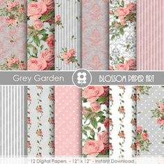 Pink and Grey Floral Digital Paper, Garden Shabby Chic Digital Paper Pack, Wedding, Scrapbooking Vintage Roses - INSTANT DOWNLOAD  - 1879 by blossompaperart