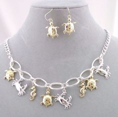 Silver Gold Ocean Critters Necklace Set Fashion Jewelry NEW Turtle Crab Seahorse #Hanee