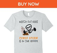 Mens Funny Gym Exercise & Workout Power Sperm Humor T-Shirt Medium Heather Grey - Workout shirts (*Amazon Partner-Link)