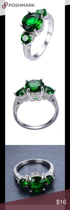 Green Emerald Gemstone Ring 3ct Green Emerald Gemstone Ring. Size 8. White gold 10kt stamped band. White gold filled. Brand new never worn. Wrapped and shipped with care. Tracking provided. No prop box included. Fire & Ice Jewelry Rings
