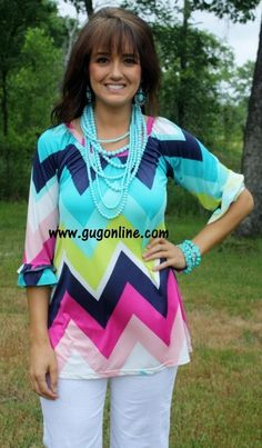 Chevron Classy Comfort in Lime, Mint, and Navy