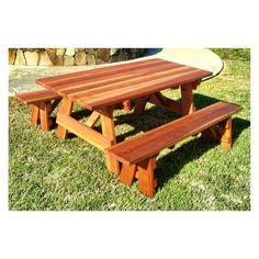 Best Redwood Outdoor Farmers Picnic Table and Benches - PTDCHBB-4RC1121910-M