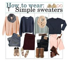 """""""How to wear: Simple sweaters."""" by teenagetippers-xo ❤ liked on Polyvore featuring MTWTFSS Weekday, Acne Studios, Hollister Co., Madewell, Abercrombie & Fitch, Pixie, RED Valentino, UGG Australia and Miss Selfridge"""