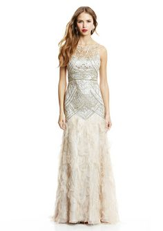 SUE WONG Ball Gown with Feather Detail $349.99