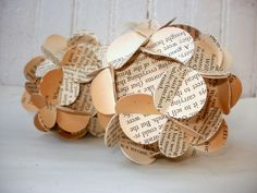Handmade Ball Ornaments Upcycled Vintage Book Pages Set of 2 SMALL Sized Ornaments Photography Prop READY to Ship. $10.00, via Etsy.
