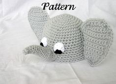 Baby elephant hat PDF Crochet Pattern 0-6 months beanie infant animal head covering costume accessory photography prop