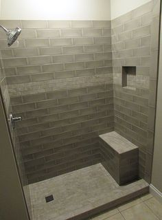 Tiled Shower w/ Bench, Niche and Deco. Tile and Installation by Exact Tile Inc … – Bathroom Gray Shower Tile, Bathroom Tub Shower, Guest Bathrooms, Small Bathroom, Standing Shower, New Bathroom Ideas, Toilet Design, Shower Remodel, Bathroom Styling