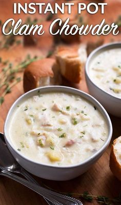 Instant Pot Clam Chowder is rich and full of flavor. This New England clam chowder made in your pressure cooker is an easy recipe that tastes delicious! simplyhappyfoodie.com #instantpotrecipes #instantpotclamchowder #instantpotsoup #pressurecookerclamchowder