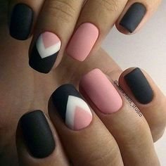 Pink, black, and white chevron matte nails