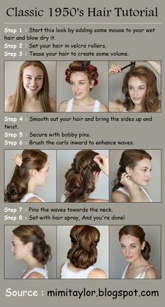 Maybe wedding hair?  Classic 1950's Hair Tutorial