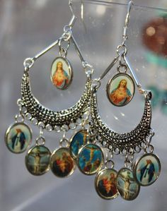 El Corazon Sagrado  and Saints Mexican Art Earrings