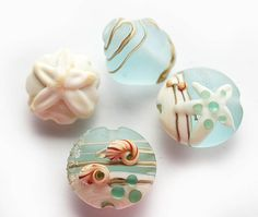 Beachy Lampwork glass beads set  beige and blue by MayaHoney
