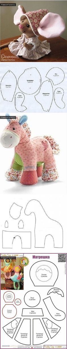 Amazing Home Sewing Crafts Ideas. Incredible Home Sewing Crafts Ideas. Doll Patterns, Sewing Patterns, Quilt Patterns, Sewing Crafts, Sewing Projects, Fabric Toys, Sewing Dolls, Stuffed Animal Patterns, Stuffed Animals