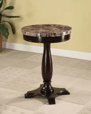 ROUND PEDESTAL TABLE WITH MARBLE VENEER TOP AND ESPRESSO BASE  - Click image twice for more info - See a  larger selection of stone coffee tables at http://zcoffeetables.com/product-category/stone-coffee-tables/ - home , home decor, home ideas, furniture, gift ideas, tables