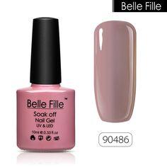 BELLE FILLE Pulimento ULTRAVIOLETA del Gel Empapa de salmón rosado color nude Profesional semi permanente de vernis de Uñas uñas de Arte polaco
