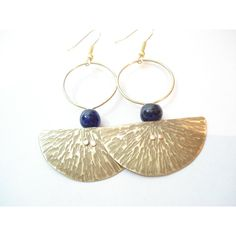 Hammered Bronze Hoops Modern Pendulum Riveted Blue Beads Earrings Cold Connection Contemporary Minimal Metalwork Earrings (€26) found on Polyvore featuring women's fashion, jewelry, earrings, bronze jewelry, blue hoop earrings, hammered jewelry, beading earrings and rivet jewelry