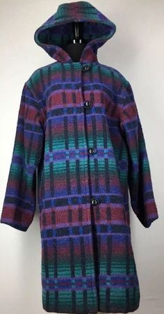 LL BEAN Women's Large Wool Coat Jacket Long Hooded Blue Green Plaid Vtg    eBay