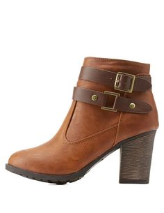 Chestnut Belted Chunky Heel Ankle Booties by Dollhouse at Charlotte Russe