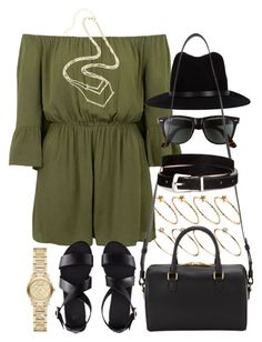 """""""Outfit with a green playsuit"""" by ferned ❤ liked on Polyvore featuring ASOS, Topshop, Ray-Ban, rag & bone, H&M, Burberry and Yves Saint Laurent"""