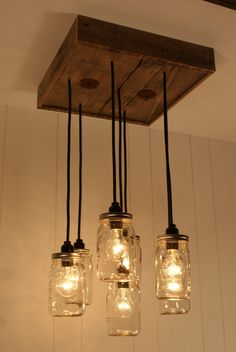 Upcycled Wood Chandelier with Mason Jar by Bornagainwoodworks, $300.00