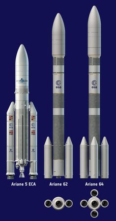Artist's view of Ariane 5 ECA and the two configurations of Ariane 6 using two boosters (A62) or four boosters (A64).