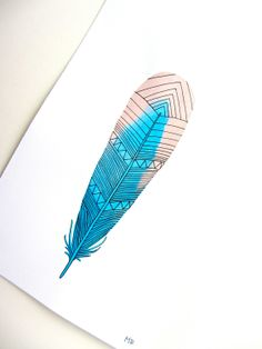 Watercolor Feather Art Painting - Blue, Pink, Neon Spring Colors - Archival Print. $12.00, via Etsy.
