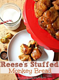 Reese's Stuffed Monkey Bread- I feel like this is what they feed you for breakfast in Heaven! Sweet Recipes, New Recipes, Cooking Recipes, Favorite Recipes, Bread Recipes, Peanut Butter Recipes, Monkey Bread, Sweet Bread