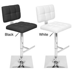 @Overstock - Glamour Adjustable Contemporary Barstool - Add seating to your home with this contemporary adjustable barstool. This item features stylish tufting enhanced by a chrome-finished base and is perfect for your home bar or modern breakfast counter. Choose either black or white to match your decor.  http://www.overstock.com/Home-Garden/Glamour-Adjustable-Contemporary-Barstool/7650606/product.html?CID=214117 $99.99