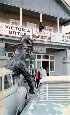 Noojee Hotel Gippsland. Stayed here once. I think the owner at the time built this model dino himself. It was his hobby.