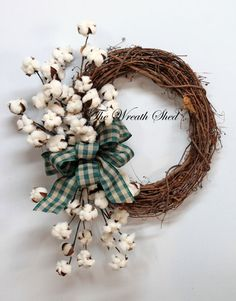 Farmhouse Cotton Wreath, Cotton Boll Wreath, Natural Cotton Bolls, 2nd Anniversary Gift, Country Decor, Country Bow, Country Primitive Decor