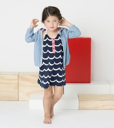 Le Top 'Seashore' Chambray Hoodie with Zip Front and Ocean Wave Sundress with Cord Straps
