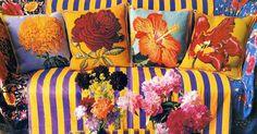 Embroidered pillow patterns by Kaffe Fassett