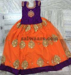 Orange Purple Fancy Lehenga - Indian Dresses