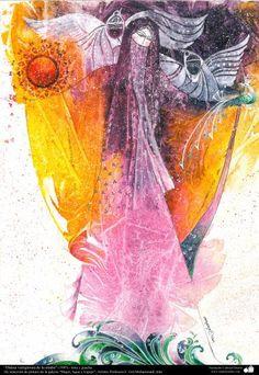 Pintura Danza vertiginosa de la madre (1995) - de la galería Mujer Agua y Espejo; Artista: Profesora F. Gol Mohammadi