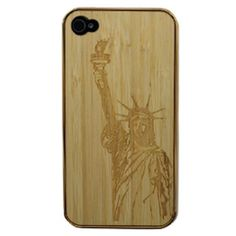 Wow!Let's make difference for your iPhone 4/4S with strange-looking Wood Craving Liberty hard back case. Check it out!