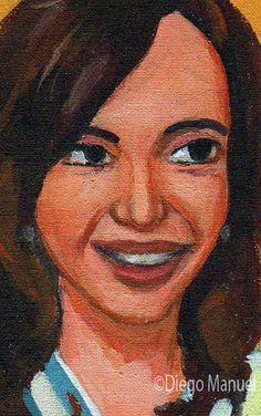 """""""Cristina Kirchner"""",acrílico sobre lienzo, 17 x 15 cm, 2015. Cuadro en venta de…"""