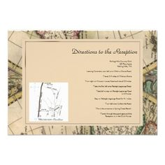 Shop Antique Old World Map Wedding Directions Enclosure Card created by NoteableExpressions. Map Wedding, Wedding Directions, Old World Maps, First Step, Invite, Wedding Invitations, Reception, Antiques, Prints