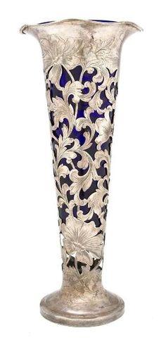 Art Nouveau Cobalt Glass Vase by Divonsir Borges