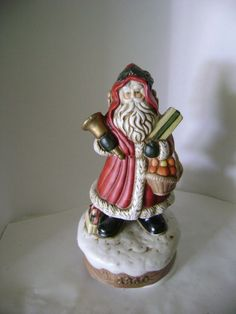 vtg SANTA 1860 MUSICAL exclusive SUMMIT COLLECTION 1991 porcelain figurine 7 ""