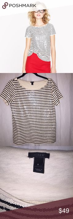J. Crew Sequin Stripe Tee Classic - Small Like new condition with no signs of wear. Smoke and pet free home.  Cover photo is stock photo, the three photos are of the top for sale. PRODUCT DETAILS Meet our must-have mashup of the moment (and beyond): forever-chic sailor stripes rendered in hand-finished sequins for a luxe texture and just a touch of shimmer. A bateau neckline and a slim, slightly A-line silhouette cement the feminine feel.  Slim fit. Cotton. Hand wash. Import. J. Crew Tops…